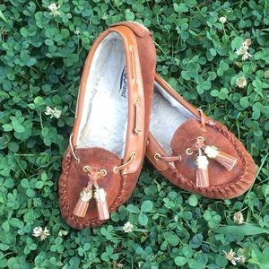Lucky Brand Brown Suede Fur Lined Moccasins
